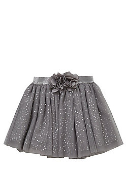 F&F Flower Applique Sequin Tutu Skirt - Grey