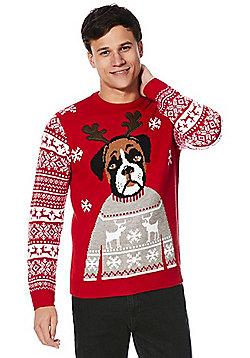 F&F Boxer Dog Fair Isle Sleeve Christmas Jumper - Red