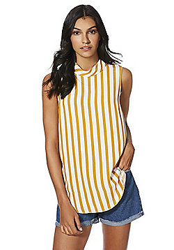F&F Striped Sleeveless Roll Neck Top - Mustard yellow