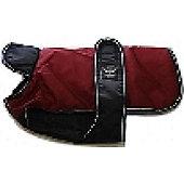 Reflective Belly Cover Dog Coat - Burgundy/Black 22in 55Cm