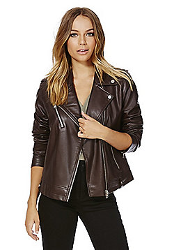 F&F Faux Leather Biker Jacket - Burgundy