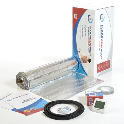 3.5m² - FLOORHEATPRO™ Electric Underfloor Heating Kit - 140w/m² - 490 watts including Touchscreen Thermostat - For use under laminate/wood Floors