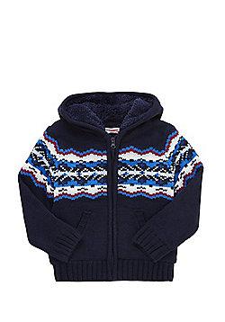 Minoti Intarsia Knit Borg Lined Cardigan - Navy