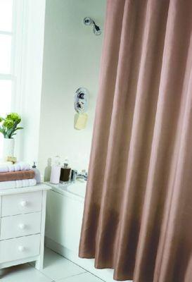 Hamilton McBride Essentials Plain Shower Curtain & Rings Set - Latte