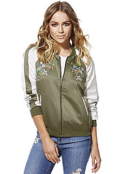 Only Noise Embroidered Satin Bomber Jacket - Olive green