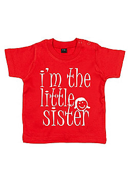 Dirty Fingers I'm the Little Sister Baby T-shirt - Red