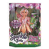 Sparkle Girlz Floral Fairies Doll with Accessories - Light Pink Hair & Peach Tutu