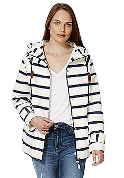 F&F Striped Canvas Shower Resistant Jacket - White