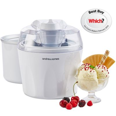 Andrew James Ice Cream Maker with Spare Bowl in White