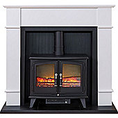 Adam Oxford Stove Suite in Pure White with Woodhouse Electric Stove