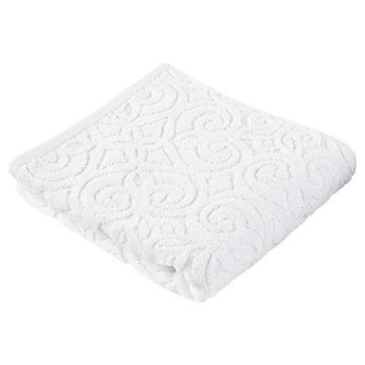 Kingsley Sculptured White Hand Towel