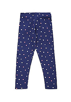 F&F Flower Print Leggings with As New Technology - Navy