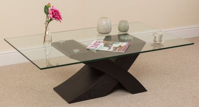 Milano Stylish Glass Coffee Table with Black Wood X Base Frame