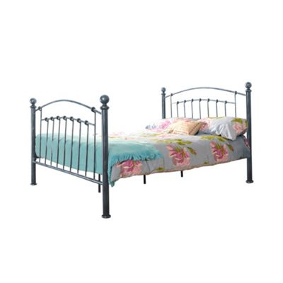 Comfy Living 4ft6 Double Brushed Metal Effect Metal Bed Frame in Antique Pewter with Damask Memory Mattress