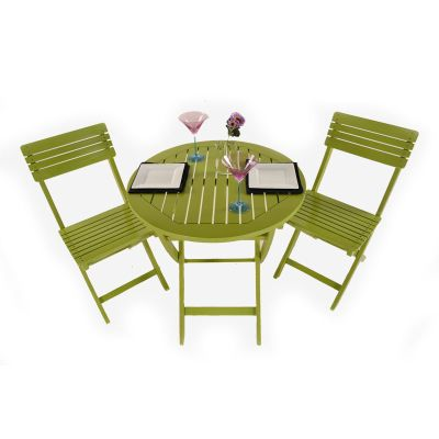 Painted Wooden 2 Seater Round Folding Bistro Set Green   Outdoor/Garden  Table And Chair