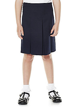 F&F School Girls Permanent Pleat School Skirt - Navy