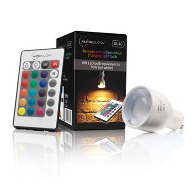AURAGLOW 6w Remote Control Colour Changing Dimmable LED Light Bulb GU10 50w EQV Warm White - 3rd Generation