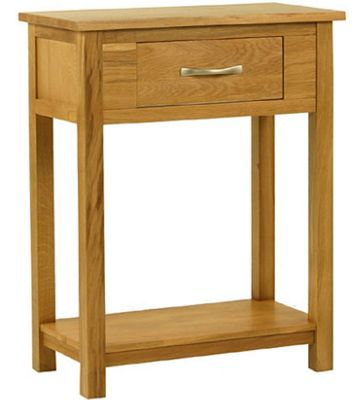 Kelburn Furniture Essentials Small Console Table in Light Oak Stain and Satin Lacquer