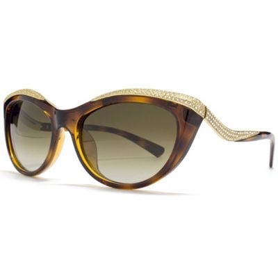 Valentino Sunglasses Diamante Detail Cateye in Dark Havana.