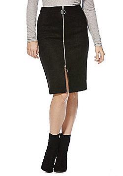 Vila Faux Suede Zip Front Pencil Skirt - Black