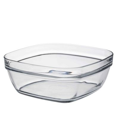 Duralex Square Stacking Glass Cooking / Ingredients Bowl - 20cm - x1