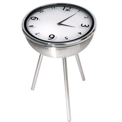 Retro Clock Table in Stainless Steel