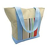 Country Club Cooler Beach Tote Bag, Cream & Multi Stripe, Blue