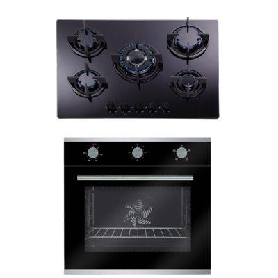 SIA 60cm Black Multi Function Single Fan Oven & 70cm 5 Burner Gas on Glass Hob