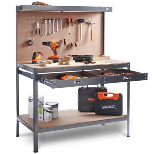 VonHaus Work bench Pegboard Heavy Duty Reinforced Steel