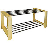 Sleek - Solid Pine Shoe Storage Organiser Rack - Natural