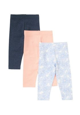 F&F 2 Pack of Floral Print and Plain Leggings Multi 3-6 months