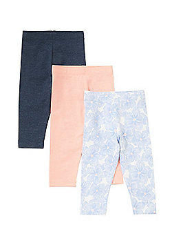 F&F 2 Pack of Floral Print and Plain Leggings - Multi