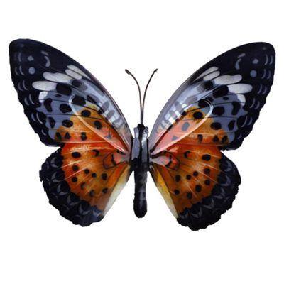 Black & Orange Coloured Metal Wall Mountable Butterfly Garden Ornament