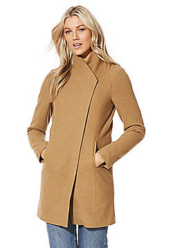 Only Asymmetric Front Coat - Camel