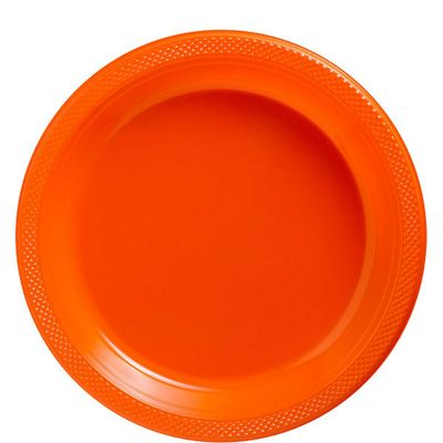 Orange Plates - 22.8cm Paper Party Plates, Pack of 20