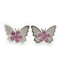 Teen Rhodium Plated Light Pink Crystal 'Butterfly' Stud Earrings - 15mm Width