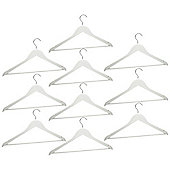 Harbour Housewares Pack of 10 White Wooden Clothes / Coat Hangers