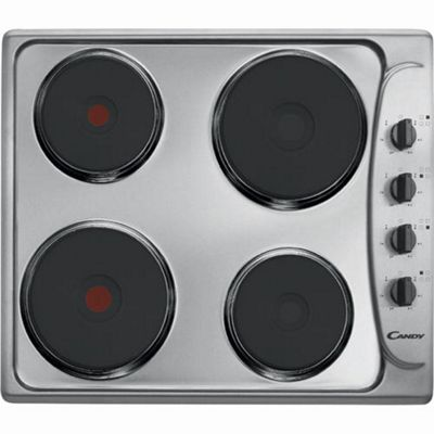 Candy PLE64X 60cm Sealed Plate Electric Hob Stainless Steel