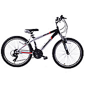 "Ammaco Gran Cru 24"" Wheel Front Suspension MTB Bike Black"