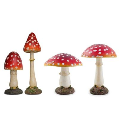 Set of 4 Large Red Polyresin Fairy Toadstool Mushroom Garden Ornaments