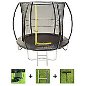 Up and About 8ft Hurricane Black Trampoline Package with Free Ladder, Weather Cover and Building Tool