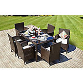 Ronda Rectangle Rattan Garden Dining Set & 6 Chairs Brown