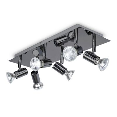 Consul 6 Way GU10 Ceiling Spotlight, Black Chrome