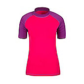 Mountain Warehouse Womens Rash Vest SPF50+ Treatment and Flat Seams for Swimming - Pink