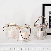 Set of 3 Glass Battery LED Votive Candle Jars