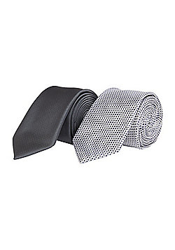 F&F 2 Pack of Slim Ties - Grey & Silver