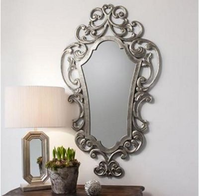 Large Antique Style Silver Rococo Wall Mounted Mirror 122Cm X 71Cm Resin