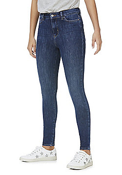 F&F 4-Way Stretch Super High Rise Skinny Jeans - Mid wash