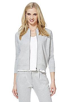 Jacqueline De Yong Marl Jersey Bomber Jacket - Grey