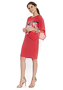 Wallis Orchid Print Overlayer Dress - Coral